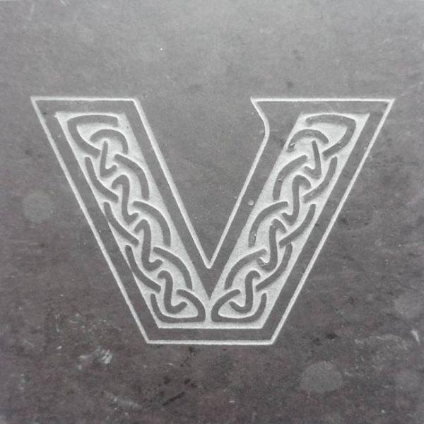 Valentia Slate Letter V Coaster
